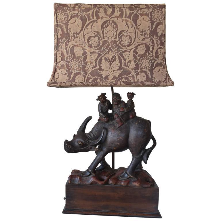 Water Buffalo Lamp with Custom Fortuny Shade