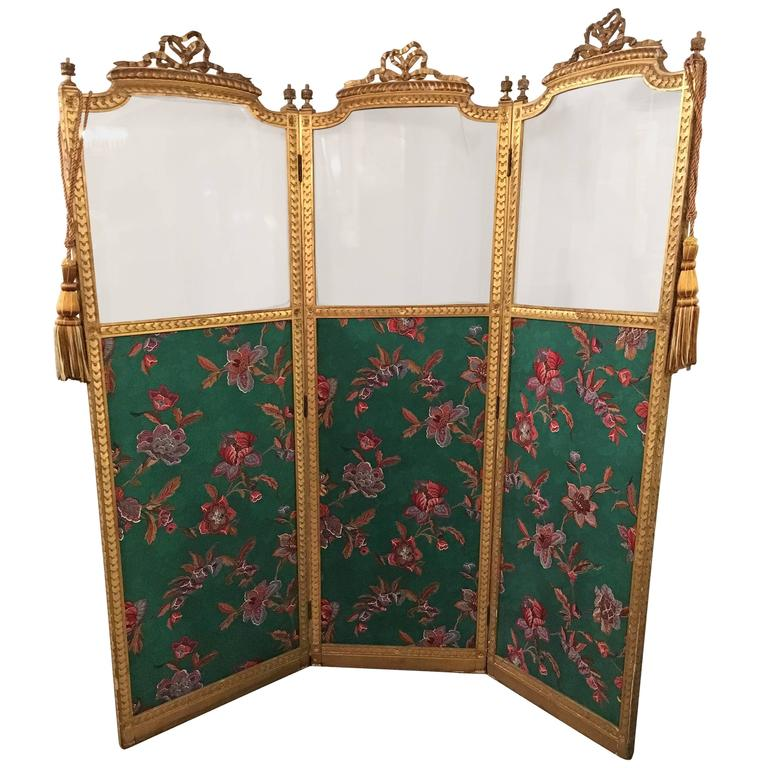Antique Three Panel French Screen or Room Divider at 1stdibs