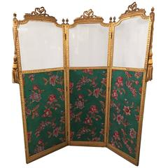 Antique Three-Panel French Screen or Room Divider