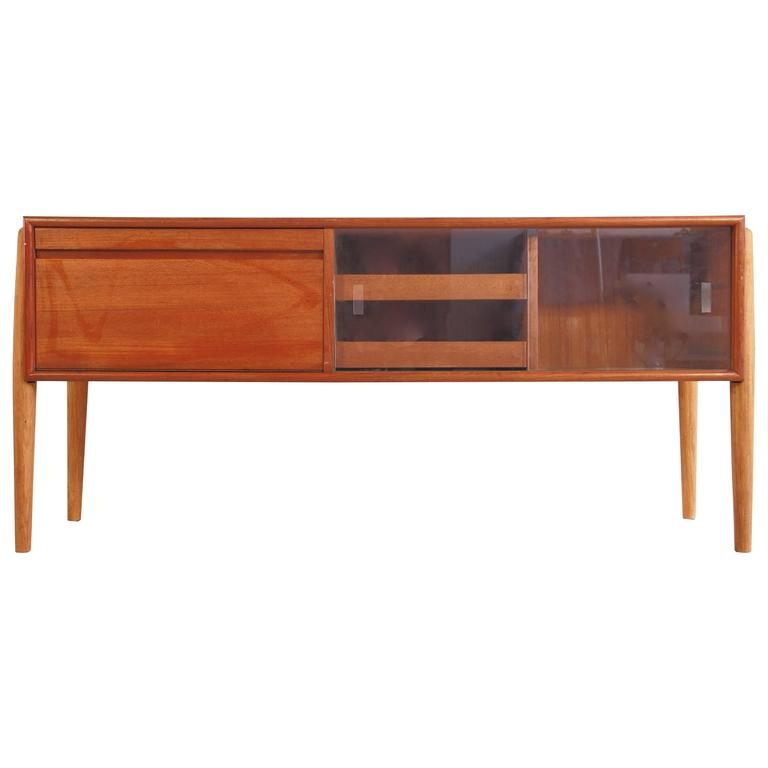 Mid-Century Danish Teak and Oak Console with Glass Sliding Doors