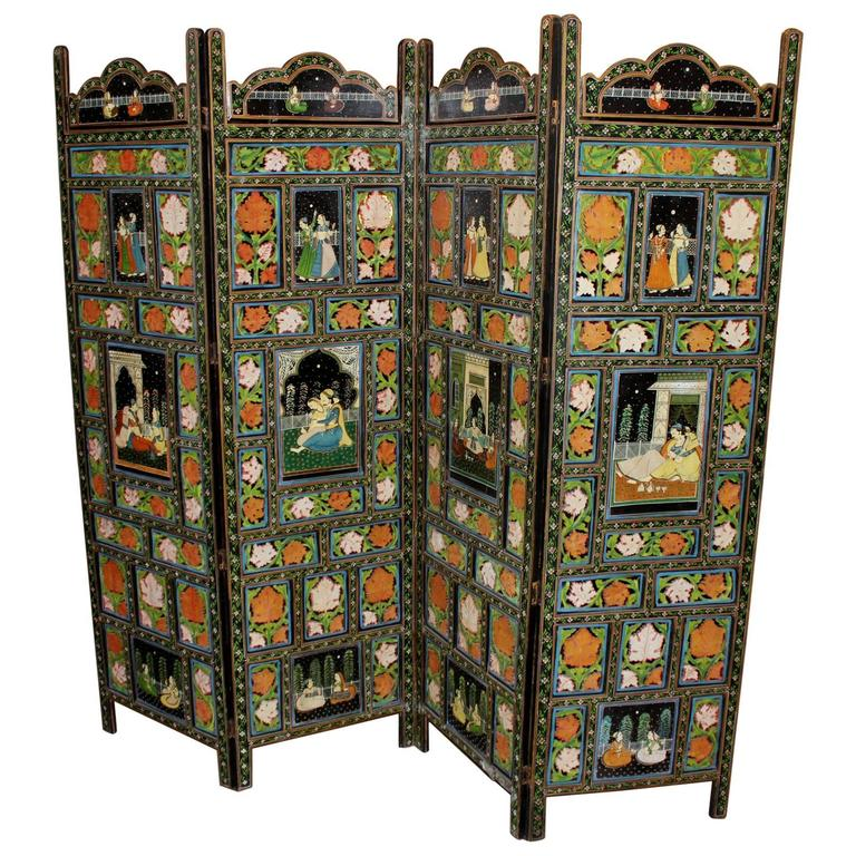 Four Panel Polychrome Hand-Painted Indian Dressing Screen