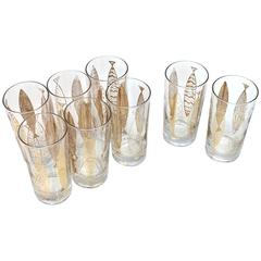 Set of Eight Tom Collins Glasses by Fred Press Fish Motif