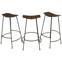 Set Of Three Swivel Counter Height Bar Stools By Arthur