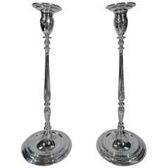 Unusual Tall and Modern Sterling Silver Candlesticks by Tiffany
