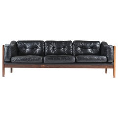 "Scandinavian Rosewood and Black Leather Sofa ""Monte Carlo"", 1965"
