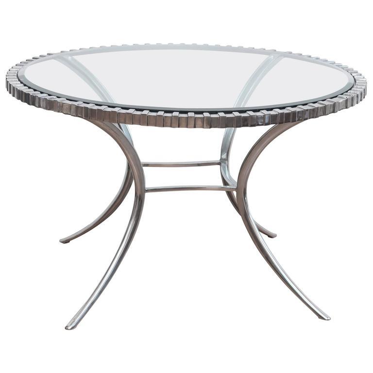 Thinline Polished Aluminum Klismos Table 1