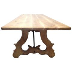 19 Century Spanish Farm Trestle Lyre Leg Table with Forged Iron