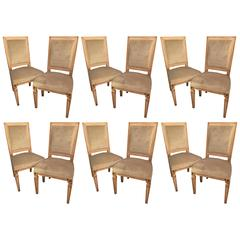 Set of 12 Paint Decorated Louis XVI Jansen Style Dining Chairs