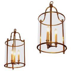 Pair of American Brass Circular Glass Hanging Lanterns, Circa 1870