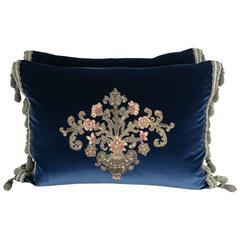 19th Century French Appliqued Pillows with Trim