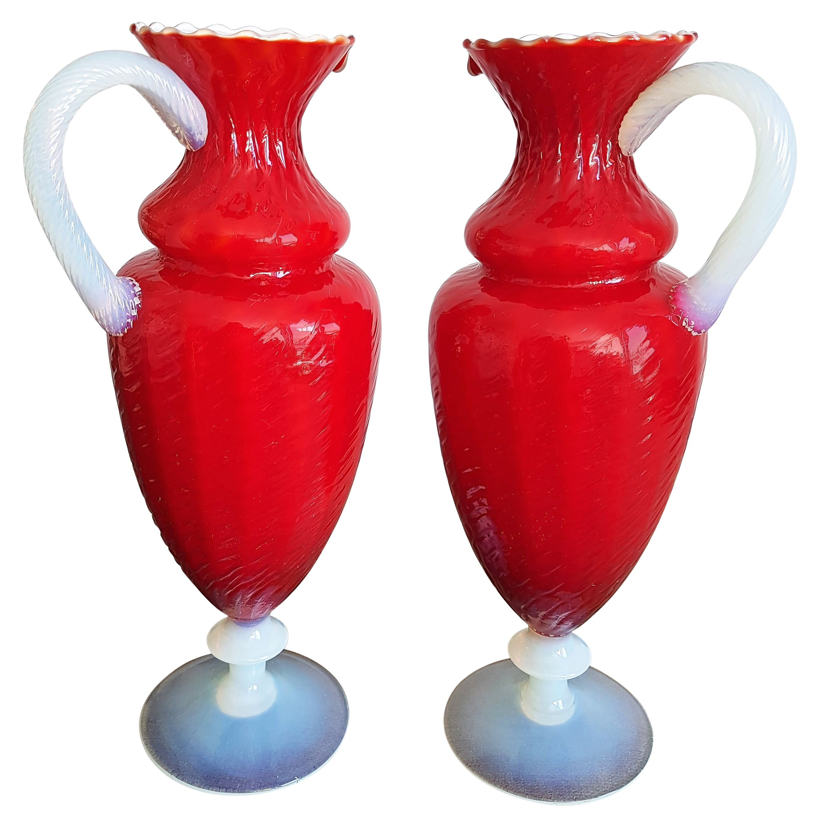 Pair Of Napoleon Iii Refined Red And White Opaline Vases