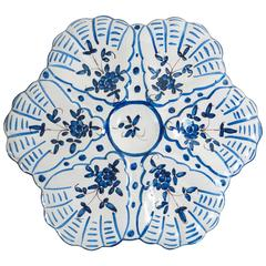 French Faience Blue and White Oyster Plate