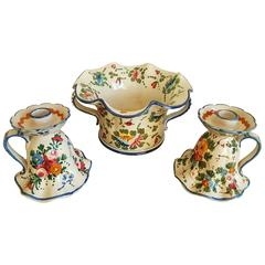 Italian Countryside Faience Set of Floral Vase and Candleholders