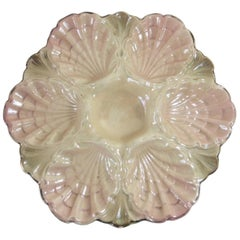 19th Century Majolica Iridescent Oyster Plate Fives Lille