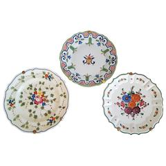 Set of Three Countryside Hand-Painted Decorative Floral Plates