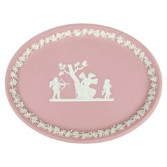 Wedgwood White on Pink Jasper Ware Oval Tray