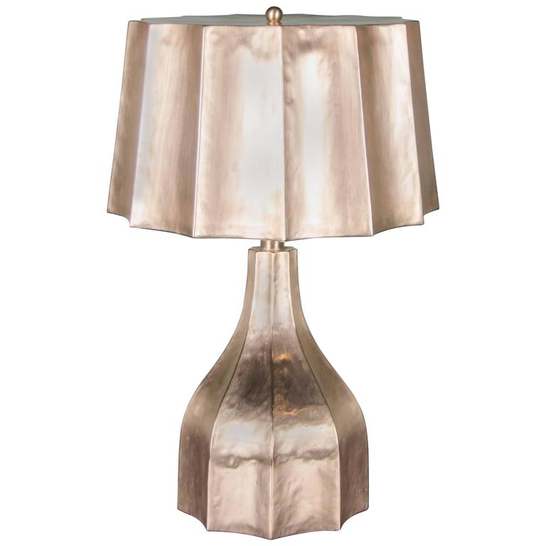 Faceted Lamp and Shade, 24-Karat Gold Plate by Robert Kuo, Limited Edition For Sale