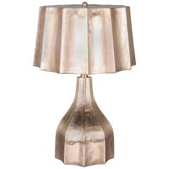 Faceted Lamp and Shade, 24 Karat Gold Plate by Robert Kuo, Limited Edition