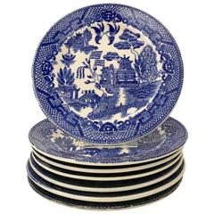 "Antique Japanese ""Blue Willow"" Plates Set of Seven"