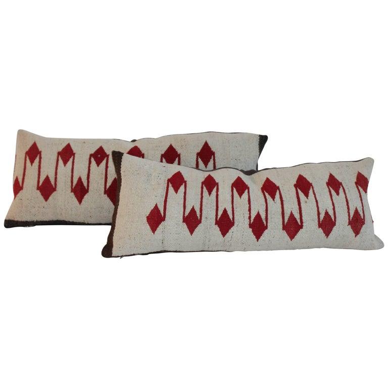 Navajo Weaving, Saddle Blanket Bolster Pillows, Pair