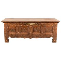 Antique Early 19th Century French Inlaid Coffer with Brass Studs