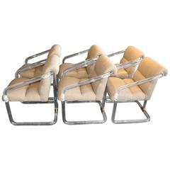 Set of Six Signed Lion in Frost Lucite Dining Chairs with Brass Accent