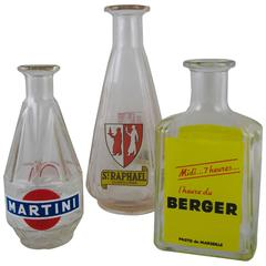 Mid-Century French Bistro Liquor Advertising Glass Carafes, S/3