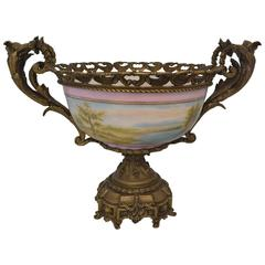 Large Hand-Painted Porcelain French Style Centerpiece with Bronze