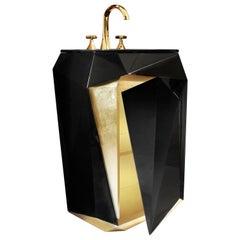 European Modern Black Varnished Lacquer and Gold Freestanding Wash Basin Sink