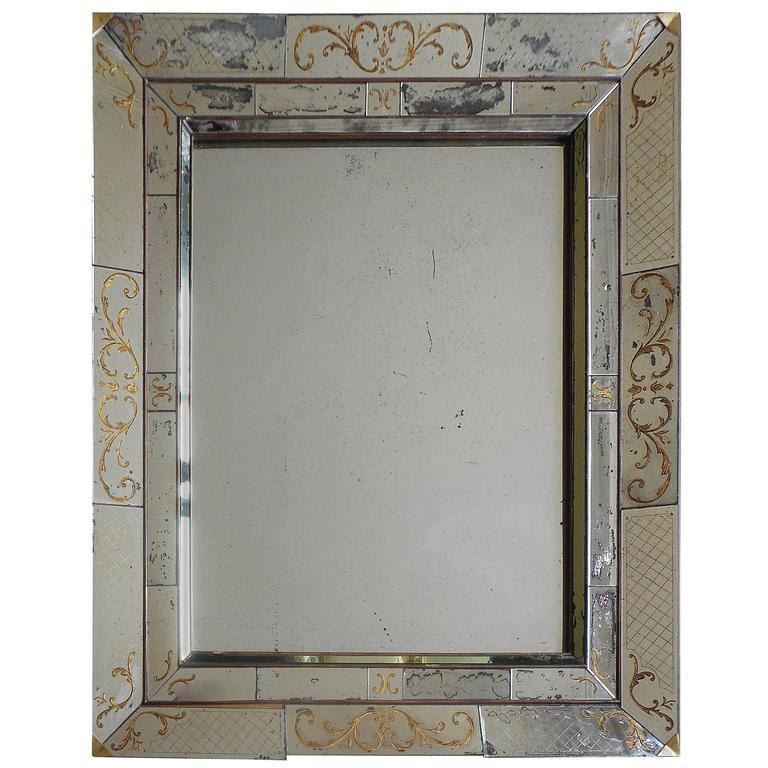 "Large French 40's ""Églomisé"" Mirror from Maison Jansen"