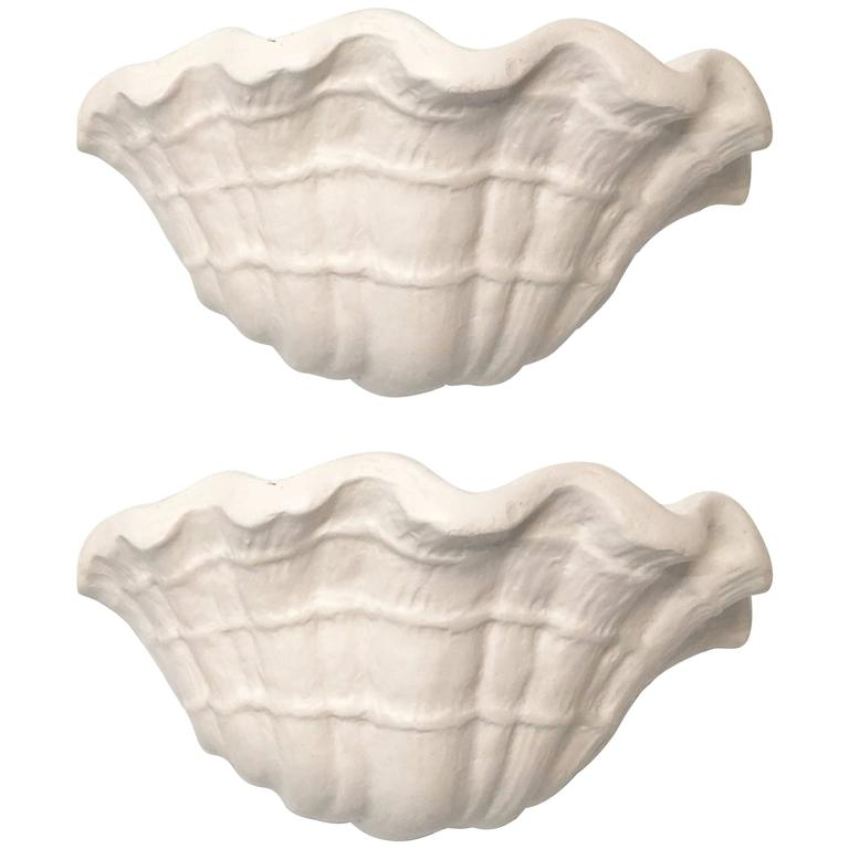 Exquisite Pair of Plaster Shell Sconces Attributed to John Dickinson 1
