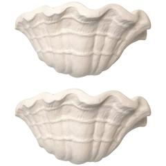 Exquisite Pair of Plaster Shell Sconces Attributed to John Dickinson