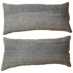 Pair of Moroccan Cactus Silk Flat-Weave Pillows