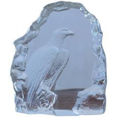 Mats Jonasson Lead Crystal Paper Weight Featuring an Eagle