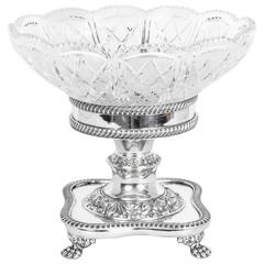 English Silver Plate Cut-Glass Compote Centrepiece