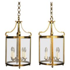 French Large Pair of Bronze Antique Lanterns