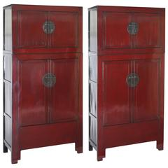 Antique Pair of Red Lacquer Compound Storage Cabinets, Stacked, Chinoiserie