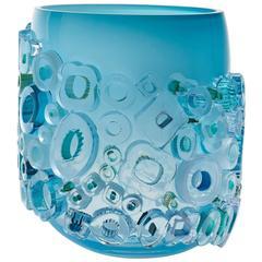 Blown Glass Vase in Aqua with Glass Ornaments by Sabine Lintzen