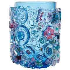 Blue Blown Glass Vase Murano Style by Sabine Lintzen