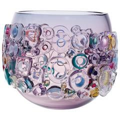 Purple Blown Glass Large Bowl, Sculptural Glass Vessel by Sabine Lintzen