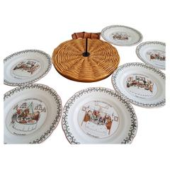 Cheese Set, One Barbotine Platter and Six Dishes by Gien, France