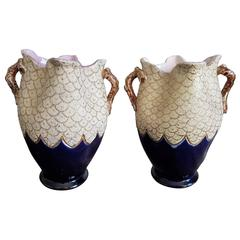 Bleu de Sèvres and Gold Pair of Vases France 1950