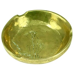 Solid Bronze Ashtray with Vegetal Pattern