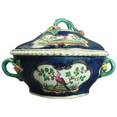 Antique English Chelsea School Hand-Painted Porcelain Covered Tureen, circa 1830