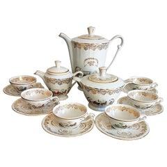Classic Italian White and Gold Fine Porcelain Tea Set
