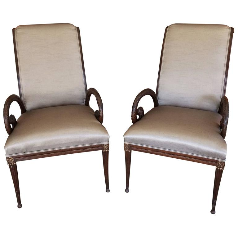 Pair of Gorgeous Carved Walnut and Upholstered Armchairs