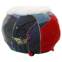 Unique Handmade Bohemian Rock & Roll Style Vintage Denim Pouffe/Floor Cushion