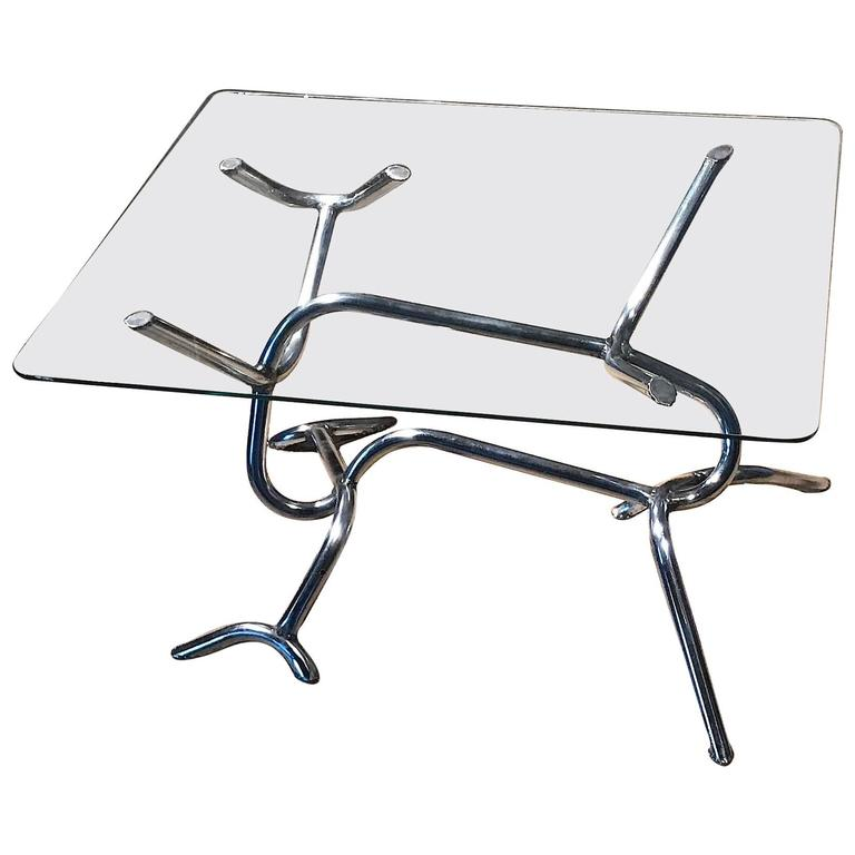 Reclaimed Chrome And Glass Vintage Industrial Coffee Table At 1stdibs