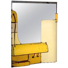 Reclaimed Steel as Mirror in Yellow