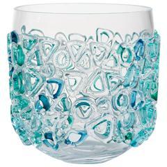 Clear Blown Glass Murano Style Vase by Sabine Lintzen